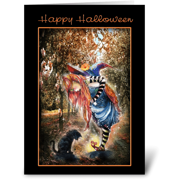Magical and Whimsical Halloween greeting card