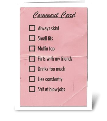 Comment Card for Her greeting card