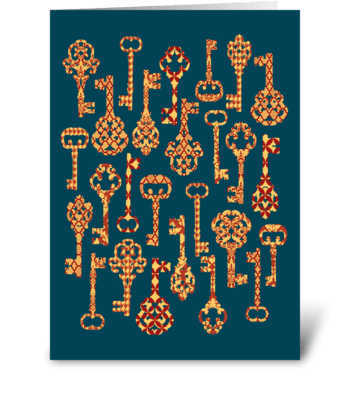 Red and Yellow Skeleton Keys greeting card