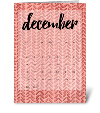 Calendar. December greeting card