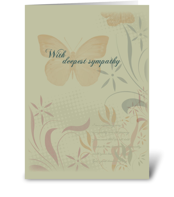 Butterfly Organic Flowers Sympathy greeting card