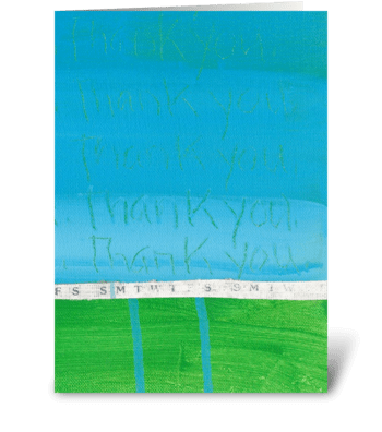Thank You Painting-Blue on Green-Ribbon greeting card
