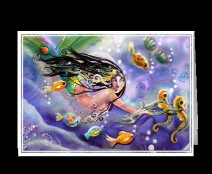 Drifting Mermaid, Hello  greeting card