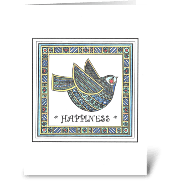 BLUE BIRD OF HAPPINESS greeting card
