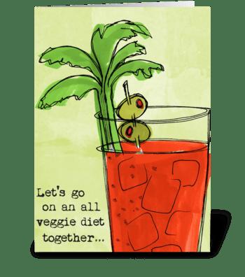 Diet Drinks Veggie greeting card