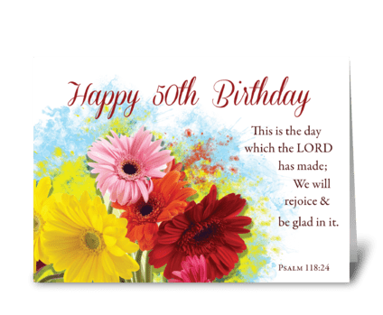 50th Religious Birthday, Gerber Daises greeting card