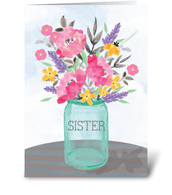 Sister Mother's Day Jar Vase with Flower greeting card