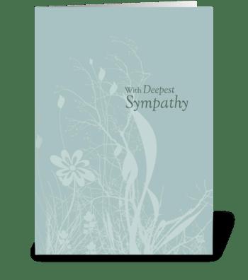 Seafoam Teal Soft Organic Flower Sympath greeting card