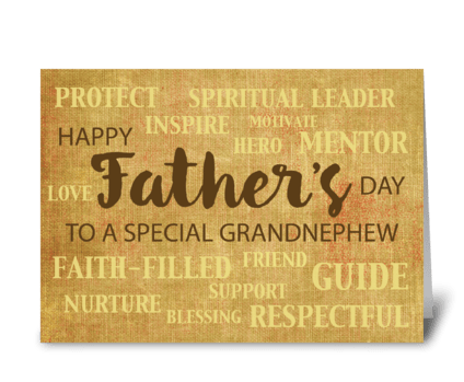 Grandnephew Religious Father's Day greeting card