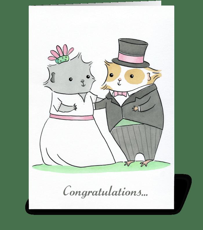 Guinea-pig Wedding greeting card
