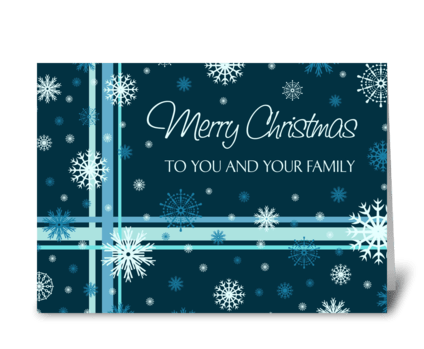Merry Christmas Teal White Snowflakes greeting card