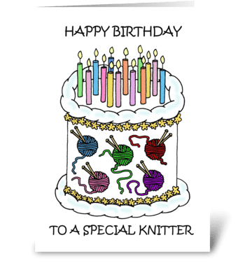 Happy Birthday for Knitter. greeting card