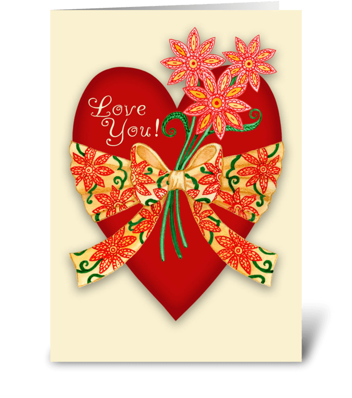 """Love You!"" Valentine Red Heart greeting card"