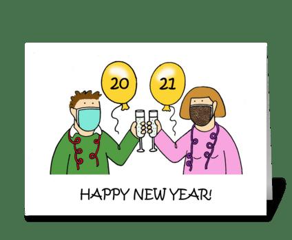 Covid 19 Happy New Year Cartoon Couple greeting card