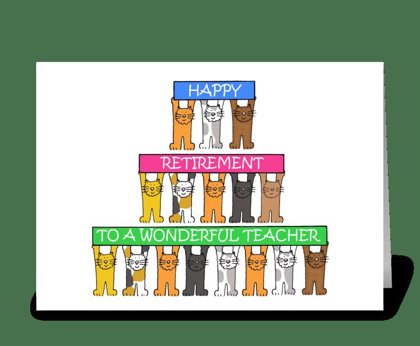 Teacher Happy Retirement Cartoon Cats greeting card