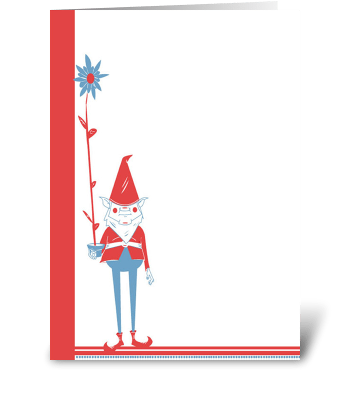 Gnome With Flower greeting card