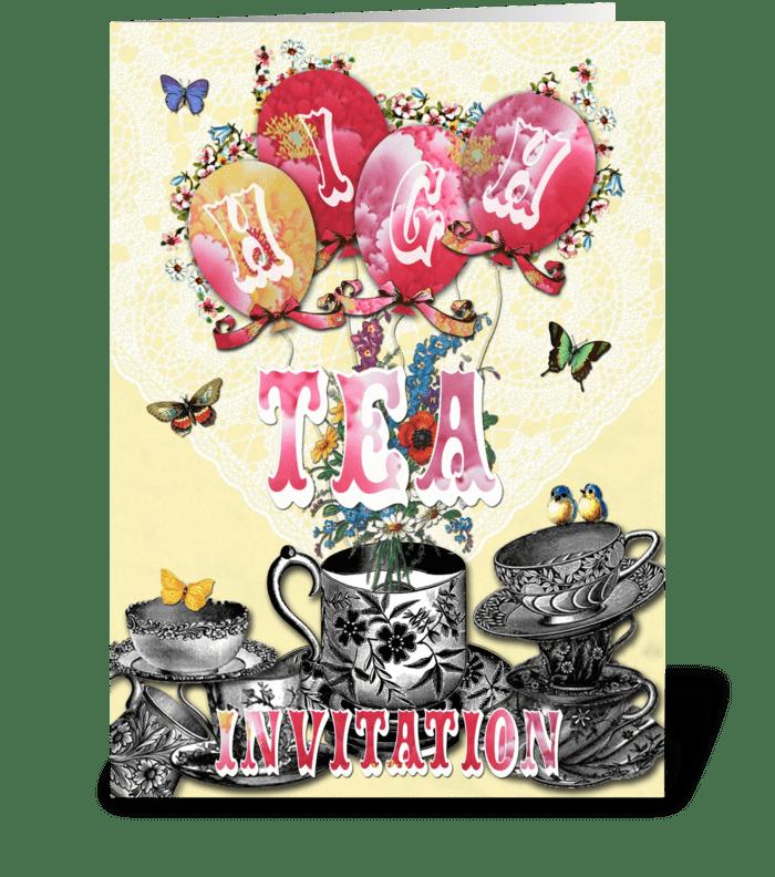 Candy Card BALLOONS High Tea greeting card