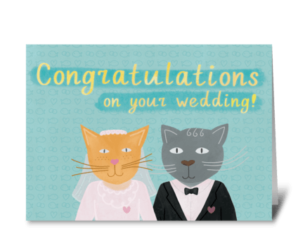 Cats Newlyweds greeting card