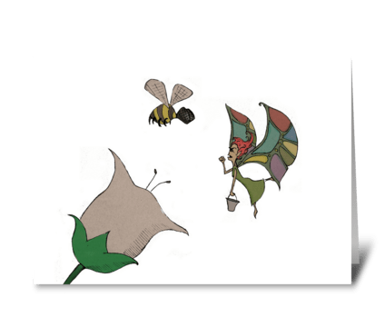 The Fairy and the Bee greeting card