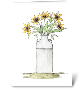 Country Sunflower Milk Can Vase  greeting card
