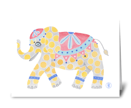 Dotty birthday elephant greeting card