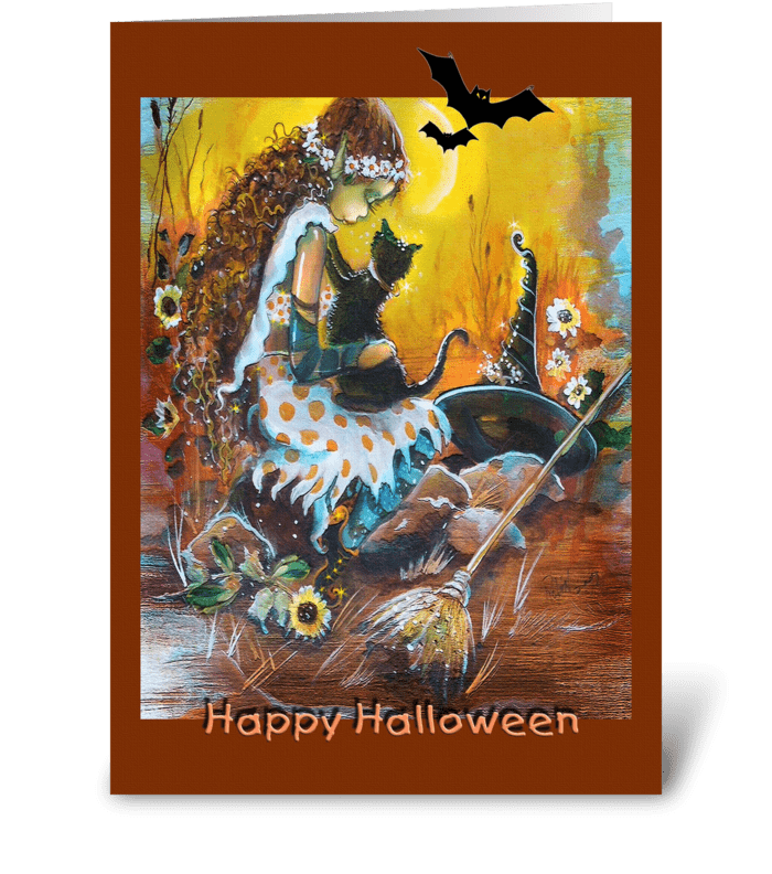 Little Witch, Happy Halloween! greeting card