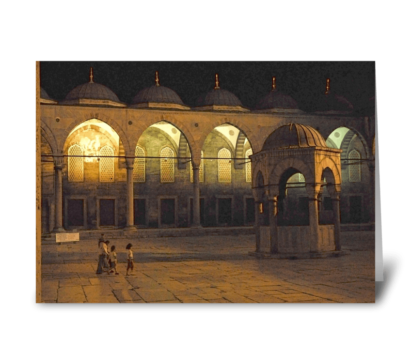 Blue Mosque Family greeting card