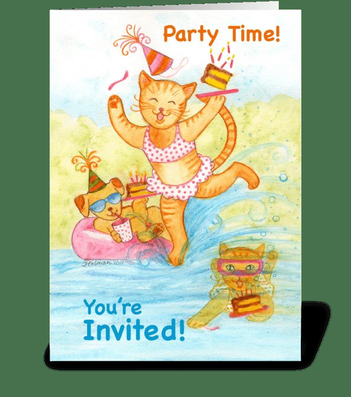 Cat Pool Party Birthday Invitation greeting card