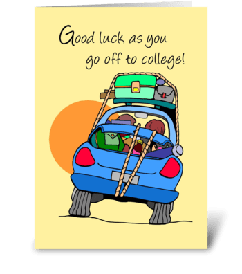 Going to College Whimsical Car greeting card