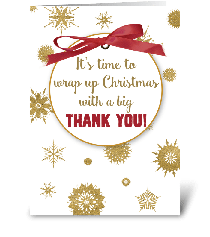 Thank You For Christmas Gift Gold Send This Greeting Card Designed By Sandra Rose Designs Card Gnome