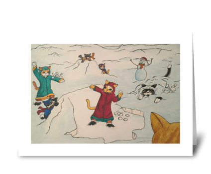 Christmas Snowball Fight Cats greeting card