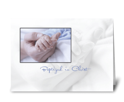 Baptism Baby Boy, Blue, Hand in Hand greeting card