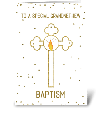 Grandnephew Baptism Gold Cross greeting card