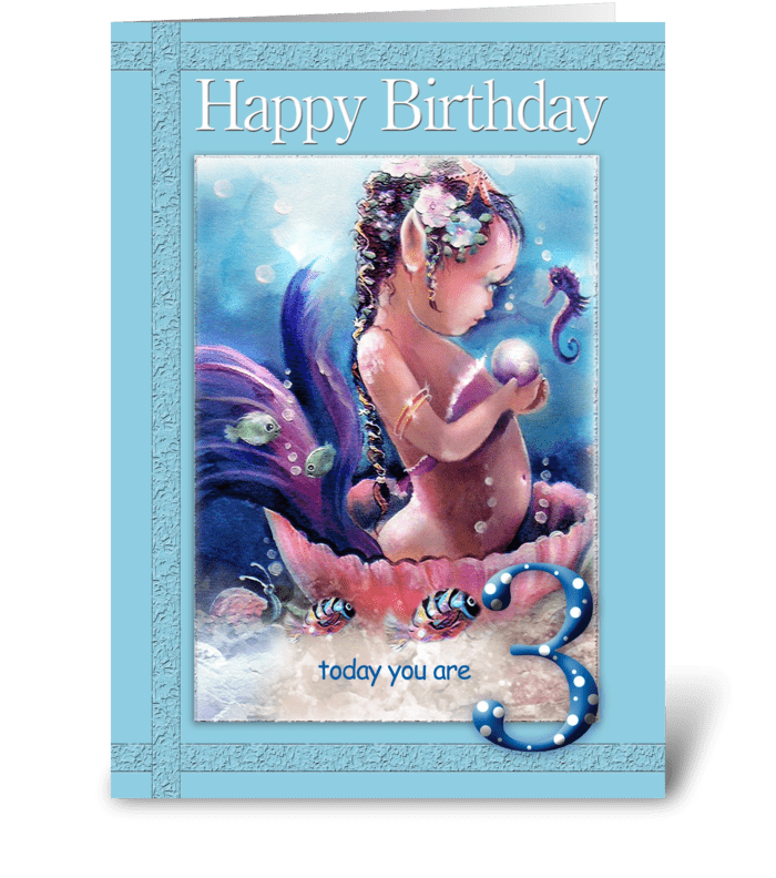 Baby Mermaid, 3 year old, Birthday greeting card