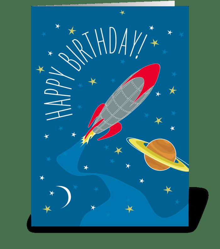 Birthday Rocket greeting card