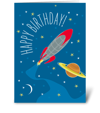 Birthday Rocket greeting card