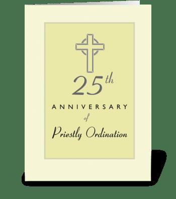 25th Anniversary of Priest Embossed Cros greeting card