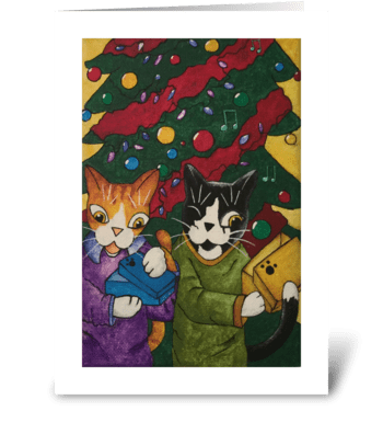 Christmas Gift Cats greeting card