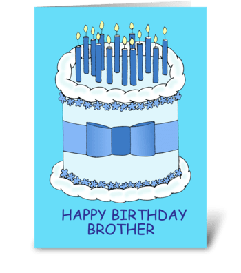Happy Birthday Brother, Cake and Candles greeting card