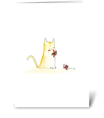 Cat and Mouse Christmas greeting card
