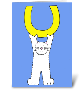 Good Luck fluffy white cat and horseshoe greeting card