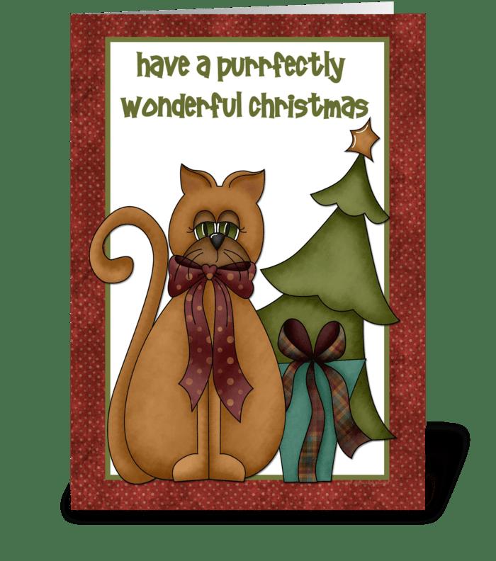 Cat, Christmas Tree greeting card