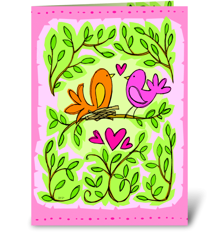 Love Birds Anniversary greeting card