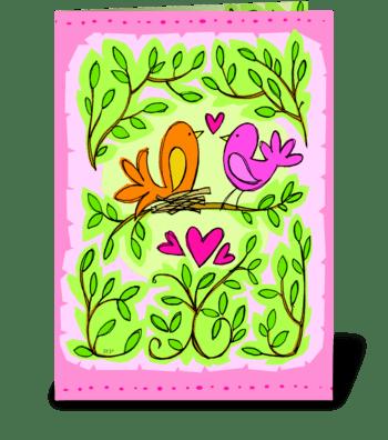 Love Birds Anniversary greeting card