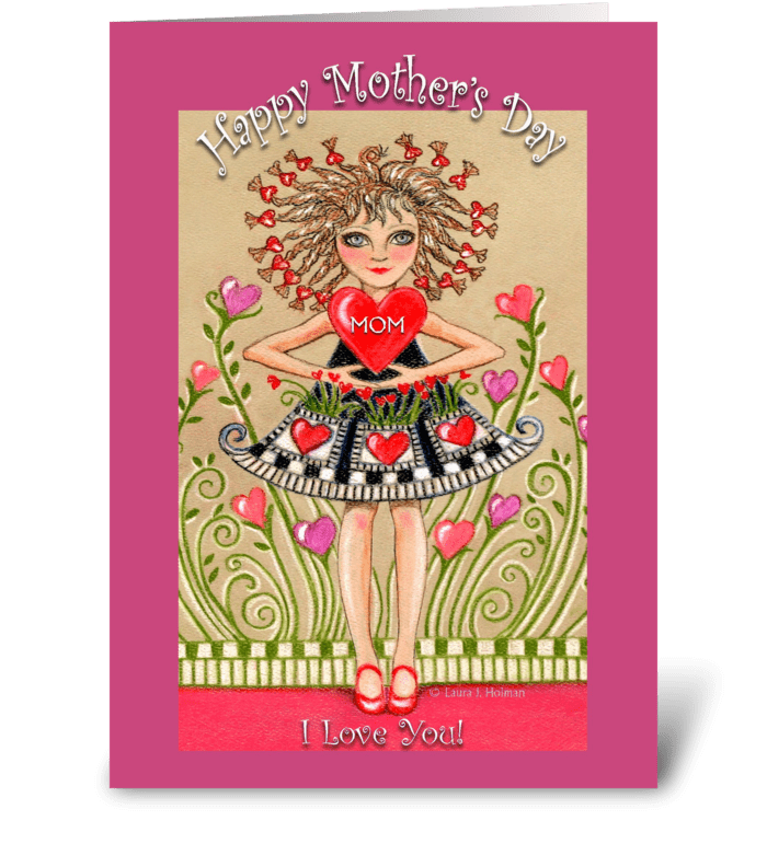 Mother's Day Girl with Heart greeting card