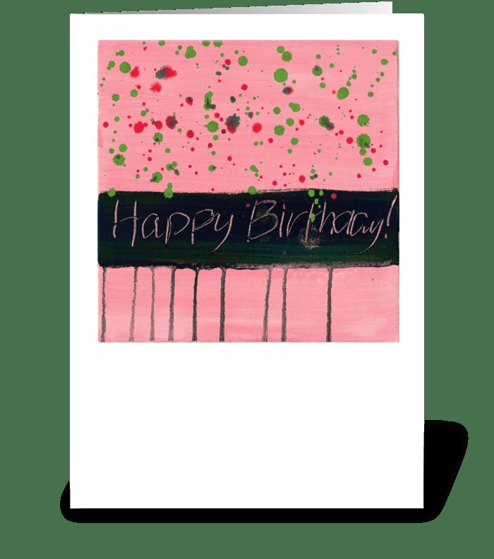 Happy Birthday - Black on Light Pink greeting card