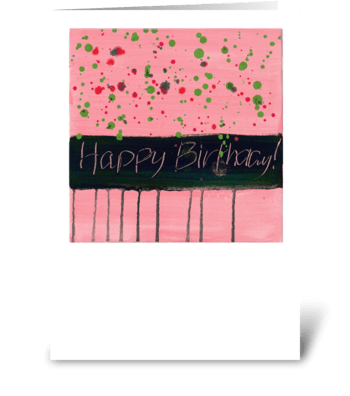 Happy Birthday - Black on Light Pink greeting card