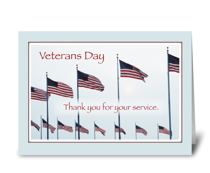 Veterans Day Thank You Flags greeting card