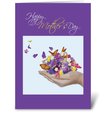 Mother's Day Hand with Flowers Butterfly greeting card