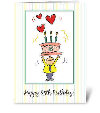 85th Birthday Hearts greeting card